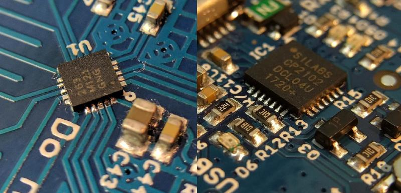 Underfilled solder pads on touch and serial IC.